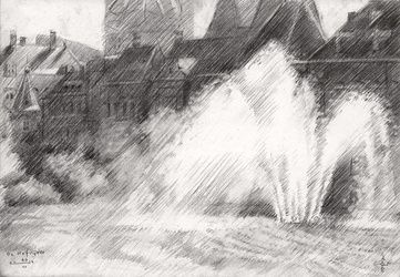 The Hofvijver (the Court's<br>Pond) - 10-06-14, Drawings / Sketch, Abstract,Fine Art,Impressionism,Realism, Architecture,Cityscape,Composition,Figurative,Inspirational,Landscape, Pencil, By Corne Akkers