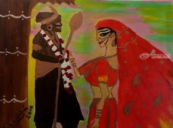 The Indian Epic ...Marriage, Paintings, Expressionism, Documentary, Oil, By Surbhi Bhatnagar