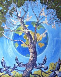 The Infinite Tree( acrylic on<br>canvas), Paintings, Expressionism, Fantasy, Acrylic, By Victoria Trok
