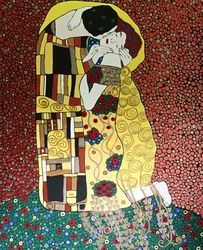 The Kiss, art inspired from<br>Gustav Klimt, Paintings, Expressionism,Fine Art,Romanticism, Portrait, Canvas, By Rachel Olynuk