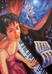 The little musical<br>Nightmare(acrylic on canvas), Paintings, Expressionism, Fantasy, Acrylic, By Victoria Trok