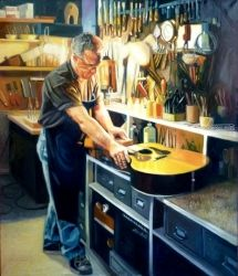 The Luthier, Paintings, Expressionism,Fine Art,Realism, Figurative, Oil, By Gregg Hinlicky
