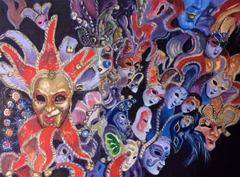 The Masks, Paintings, Expressionism, Fantasy, Acrylic, By Victoria Trok