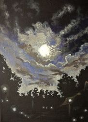 The Midnight(acrylic on<br>canvas), Paintings, Fine Art, Landscape, Acrylic, By Victoria Trok