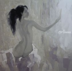 Mirror, Paintings, Fine Art,Realism,Romanticism, Decorative,Nudes,People, Canvas,Oil, By Ninh NguyenVu