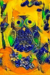 The night owl by QueenNoble<br>Art Deco, Animation,Decorative Arts,Digital Art / Computer Art,Paintings,Poster,Printmaking, Abstract,Fine Art,Modernism,Street Art, Animals,Tropical,Wildlife,Window on the World, Canvas,Mixed,Painting,Photography: Metal Print,Photography: Photographic Print,Photography: Premium Print,Photography: Stretched Canvas Print, By Queen Noble