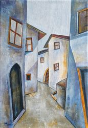 The old town, Paintings, Abstract,Cubism,Impressionism, Architecture,Cityscape,Composition, Acrylic, By Aniko Hencz