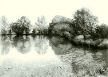 The Ooij polder - 27-06-16, Drawings / Sketch, Abstract,Fine Art,Impressionism,Realism,Surrealism, Composition,Figurative,Inspirational,Landscape,Nature, Pencil, By Corne Akkers