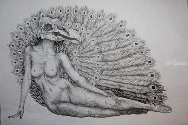 The Peacock, Decorative Arts,Drawings / Sketch,Illustration,Tattoo, Commercial Design,Fine Art,Realism,Romanticism,Surrealism,Symbolism, Anatomy,Animals,Composition,Conceptual,Daily Life,Decorative,Mythical,Spiritual,Still Life, Ink, By Misia Slemp