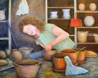 The Potter, Paintings, Fine Art,Realism, Figurative,Still Life, Oil, By Loretta Luglio