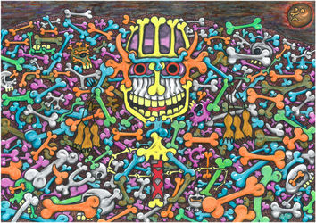 The raw passions of the<br>Skeletons population of the<br>World of Fantasy, a modern<br>short story with amateurish<br>drawing art, Drawings / Sketch,Illustration, Fine Art,Primitive,Satire, Art Brut,Fantasy,Humor, Mixed, By Kost Koža outsider art and stories