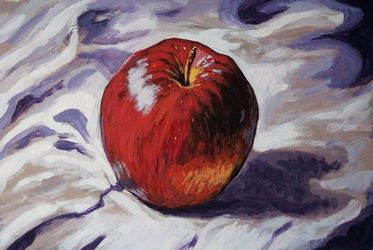 The Red Apple(acrylic on<br>cardboard), Paintings, Fine Art, Still Life, Acrylic, By Victoria Trok