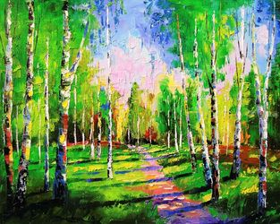 The road to the birch grove, Paintings, Impressionism, Botanical,Landscape,Nature,Wildlife, Canvas,Oil,Painting, By Olha   Darchuk