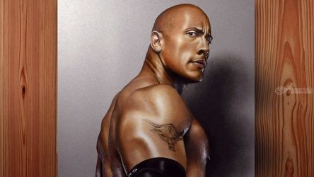 The Rock (Dwayne Johnson)<br>Portrait painting in Oil, Illustration,Paintings,Video Art, Expressionism,Photorealism,Realism, Portrait, Oil, By Stefan Pabst