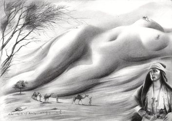 The sheik of Araby - 15-10-17, Drawings / Sketch, Abstract,Fine Art,Impressionism,Realism,Surrealism, Anatomy,Composition,Erotic,Fantasy,Figurative,Inspirational,Landscape,Nature,Nudes,People, Pencil, By Corne Akkers