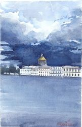 The sky over Petersburg, Paintings, Fine Art, Cityscape, Watercolor, By Eugene Gorbachenko