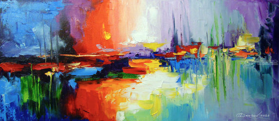 The sound of sunset, Paintings, Abstract,Expressionism,Impressionism, Anatomy,Landscape, Canvas,Oil,Painting, By Olha   Darchuk