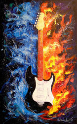 The sound of the guitar, Paintings, Expressionism,Fine Art,Impressionism, Fantasy,Figurative,Inspirational,Music, Canvas,Oil,Painting, By Olha   Darchuk