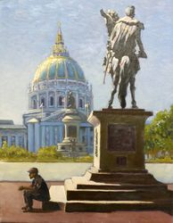 The Statue at the Civic Center, Paintings, Impressionism, Cityscape, Canvas,Oil, By Mason Kang