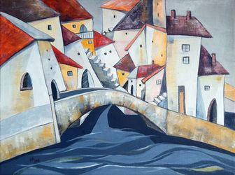 The stone bridge, Paintings, Abstract,Cubism,Impressionism,Modernism, Architecture,Cityscape, Oil, By Aniko Hencz