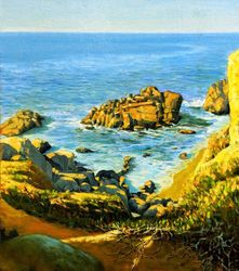 The sunlighted beach, Paintings, Hallucinogens, Seascape, Canvas,Oil, By Mason Kang