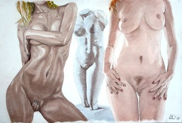 The Three Graces, Paintings, Realism, Nudes, Watercolor, By Victor Ovsyannikov