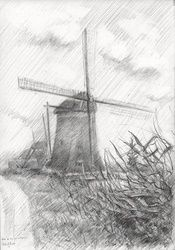 The three mills (near<br>Leidschendam) - 23-05-14, Drawings / Sketch, Abstract,Fine Art,Impressionism,Realism, Composition,Figurative,Inspirational,Landscape,Nature, Pencil, By Corne Akkers