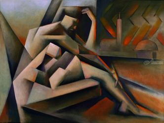 The Widow of Aleppo (2019), Paintings, Abstract,Cubism,Expressionism,Fine Art, Anatomy,Architecture,Composition,Figurative,Inspirational,Nudes,People, Painting, By Corne Akkers