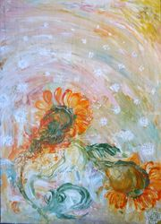 The Wind, Paintings, Fine Art, Botanical,Figurative,Floral,Nature,Wildlife, Acrylic,Canvas, By ArtRuDi ArtRuDi