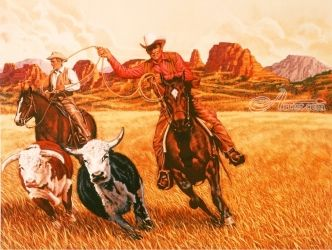 THE WRANGLERS, Paintings, Realism, Figurative, Gouache, By Dick Bobnick