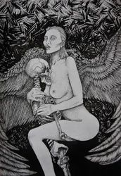 There is no light without the<br>darkness, Decorative Arts,Drawings / Sketch,Folk Art,Illustration,Tattoo, Commercial Design,Fine Art,Realism,Romanticism,Surrealism,Symbolism, Anatomy,Composition,Conceptual,Dance,Decorative,Erotic,Fantasy,Grotesque,Humor,Inspirational, Ink, By Misia Slemp