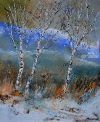 Three aspen trees, Architecture,Decorative Arts,Drawings / Sketch,Paintings, Expressionism, Botanical, Canvas, By Pol Ledent