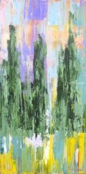 Three Cypresses, Cortona, Paintings, Abstract, Landscape, Acrylic, By Sal Panasci