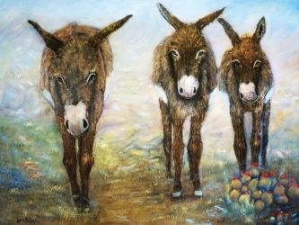 Three Donkeys, Paintings, Existentialism,Fine Art,Impressionism,Realism, Animals, Oil, By Loretta Luglio