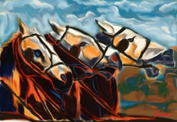 three horses, Digital Art / Computer Art, Expressionism, Animals, Digital, By Nebojsa Strbac