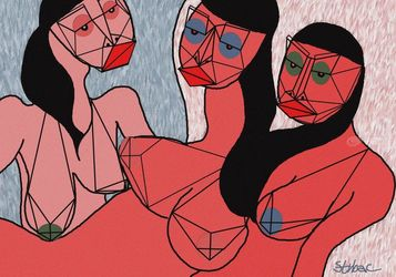 three nudes, Digital Art / Computer Art, Expressionism,Modernism, Nudes,People,Portrait, Digital, By Nebojsa Strbac