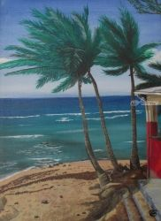 Three Palms, Paintings, Fine Art,Impressionism,Surrealism, Seascape, Acrylic,Canvas, By Ann Biddlecombe