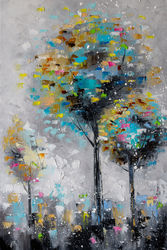 Three trees, Paintings, Abstract, Landscape, Oil, By Liubov Kuptsova