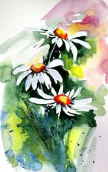 Three white flowers, Paintings, Impressionism, Floral, Watercolor, By Kovacs Anna Brigitta