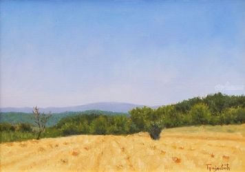 Through the Stubble, Paintings, Impressionism,Photorealism,Realism, Landscape,Nature, Canvas,Oil, By Dejan Trajkovic