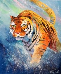 Tiger, Paintings, Impressionism, Animals,Nature, Canvas,Oil,Painting, By Olha   Darchuk