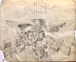 Torn perspective 1, Drawings / Sketch, Fine Art, Conceptual, Pencil, By James Cassel