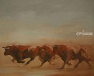Toros de Lidia (study 1), Paintings, Expressionism, Animals, Canvas,Oil, By Zil Hoque