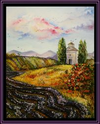 Toscana. Italy, Paintings, Fine Art, Decorative,Floral,Nature, Canvas, By Irina Bardita