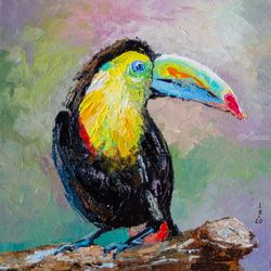 Toucan bird (framed), Paintings, Impressionism, Animals, Oil, By Liubov Kuptsova