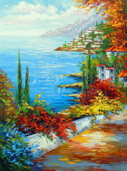 Town by the sea, Paintings, Fine Art,Impressionism, Botanical,Floral,Landscape,Nature, Canvas,Oil,Painting, By Olha   Darchuk