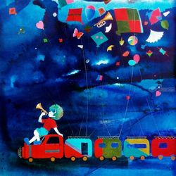 Treasure of the childhood vii, Paintings, Abstract,Expressionism,Impressionism,Modernism,Pop Art, Children,Conceptual,Decorative,Music,Nature, Acrylic,Canvas, By Shiv Soni