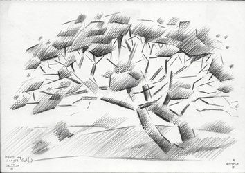 Tree at The Hague Golf 7 -<br>04-06-14, Drawings / Sketch, Abstract,Cubism,Fine Art,Impressionism,Realism, Composition,Figurative,Inspirational,Landscape,Nature, Pencil, By Corne Akkers