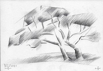 Tree at The Hague Golf 8 -<br>04-06-14, Drawings / Sketch, Abstract,Cubism,Impressionism,Minimalism,Realism,Surrealism, Composition,Figurative,Inspirational,Landscape,Nature, Pencil, By Corne Akkers