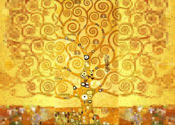 Tree of Life after Klimt,<br>center part, Digital Art / Computer Art, Abstract,Expressionism, Analytical art,Decorative,Fantasy, Digital, By Dmitry Posudin